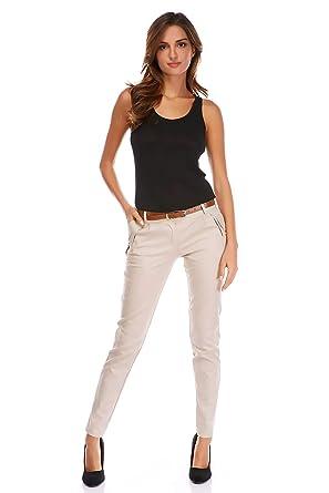 8b5f01a78fe V.I.P. PARIS Josefine ORPHEE Pantalon Chino Femme Beige M  Amazon.fr   Vêtements et accessoires