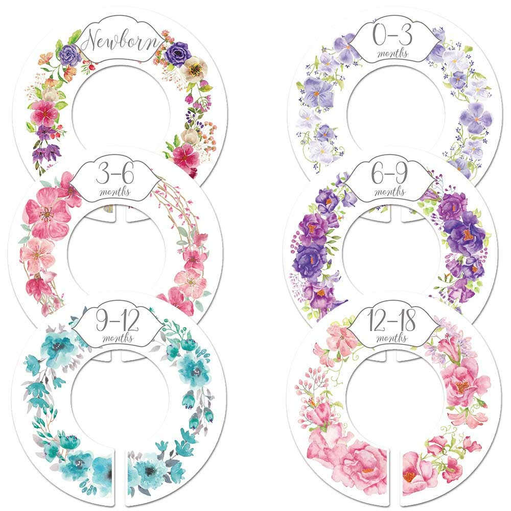 6 Baby Girl Nursery Clothing Size Closet Rod Divider by Month Floral