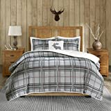 3 Piece Cabin Brown Grey Plaid Comforter Twin Set, Madras Tartan Pattern Bedding Down Moose Pillows Light Gray Lodge Hunting Themed Cozy Berber Reverse Warmth Southwest Colors, Polyester