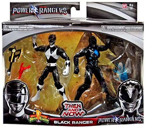 Saban's Power Rangers Then and Now Black Ranger Action Figure Set (Mighty Morphin Power Ranger Helmet)