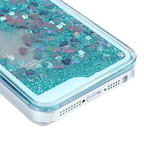 iPhone SE/ 5S/ 5 Case MAXFE.CO Clear Flexible Phone Cover Shiny Glitter Heart Shape Floating Liquid Tiffany Blue Slim Fit Protective Shockproof Anti Scratch Case + Rhinestone Dust Plug + Touch Pen
