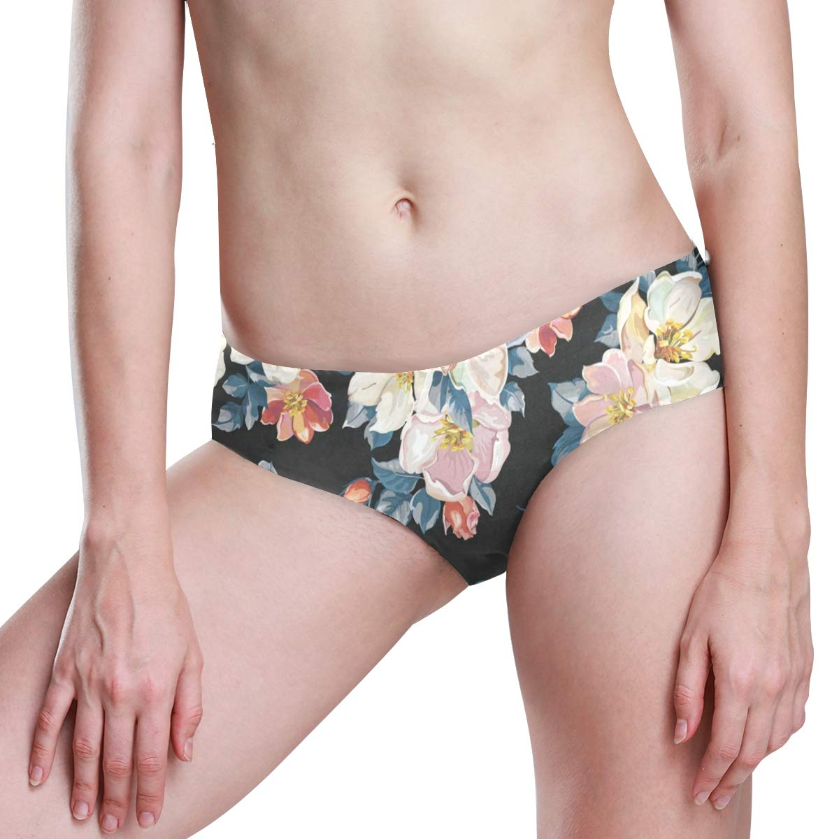 Vintage Floral Flowers Womens Seamless Underwear Invisible Bikini No Show Thong Panties