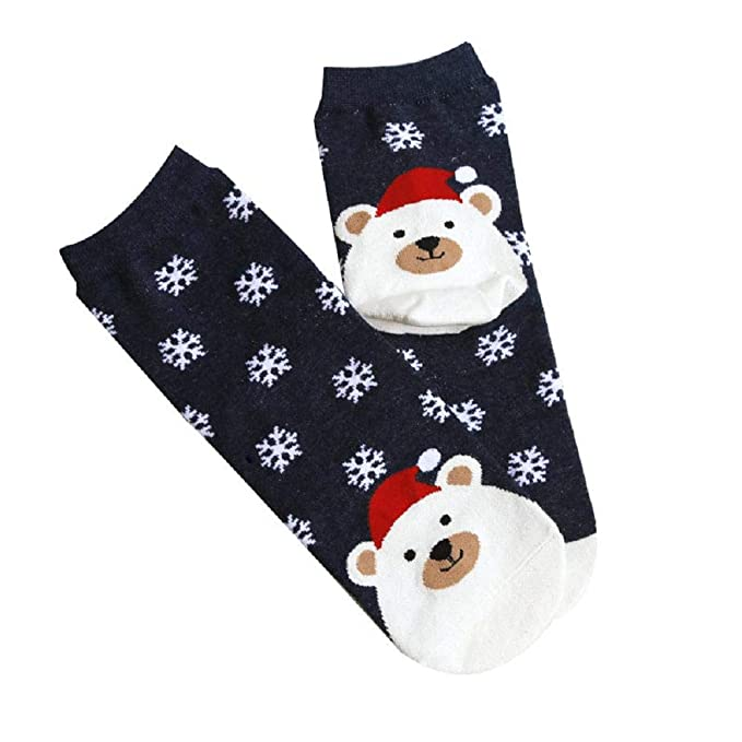 VJGOAL Mujeres invierno moda casual Navidad Animal Imprimir calcetines lindos tubo medio transpirable algodón calcetines(Un tamaño, Azul marino): Amazon.es: ...
