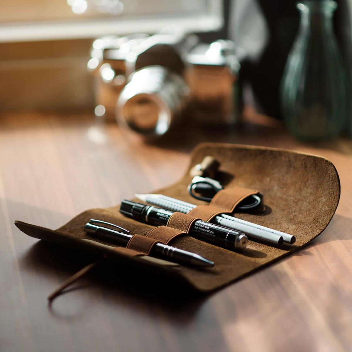 kalibri para Estuche de cuero enrollable para kalibri lápices en negro - Portalápices de cuero auténtico funda para lápices pinceles - Cubierta vintage 57cce6
