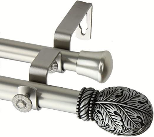 Forest 13//16 inch Double Curtain Rod 66-120 Inch Satin Nickel