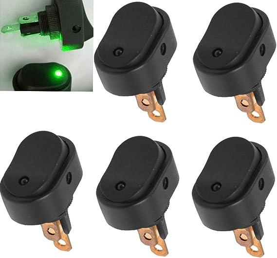 Supmico 5 X 12v 30a Auto Kfz Schalter Grün Led Licht Lampe Ein Aus Wippenschalter Kippschalter 3 Polig Auto