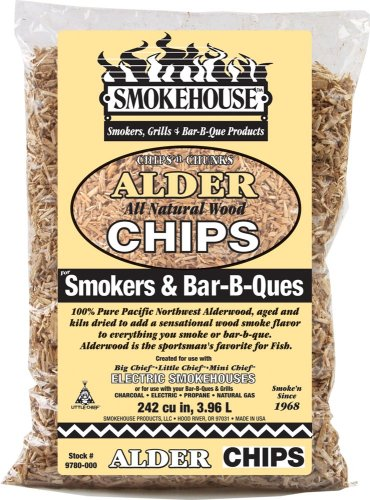 Smoking Wood Alder Chips (Smokehouse Products All Natural Flavored Wood Smoking Chips- Alder)