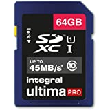 Integral UltimaPro 64 GB SDXC Class 10 Memory Card up to 45 MB/s, U1 Rating with Frustration Free Packaging