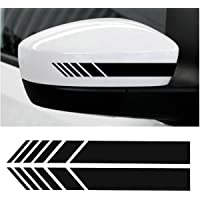 CVANU Car Rearview Mirror Strip Sticker Vinyl Racing Decal Emblem (Black) For Maruti Suzuki Ignis