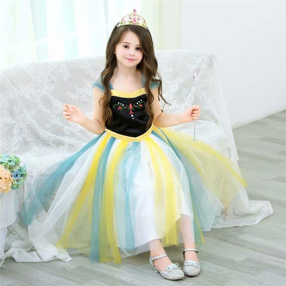 Kids Princess Costume Dress Girl Ice Snow Queen Role Cosplay Halloween Theme Party for Little Child Teen Yellow