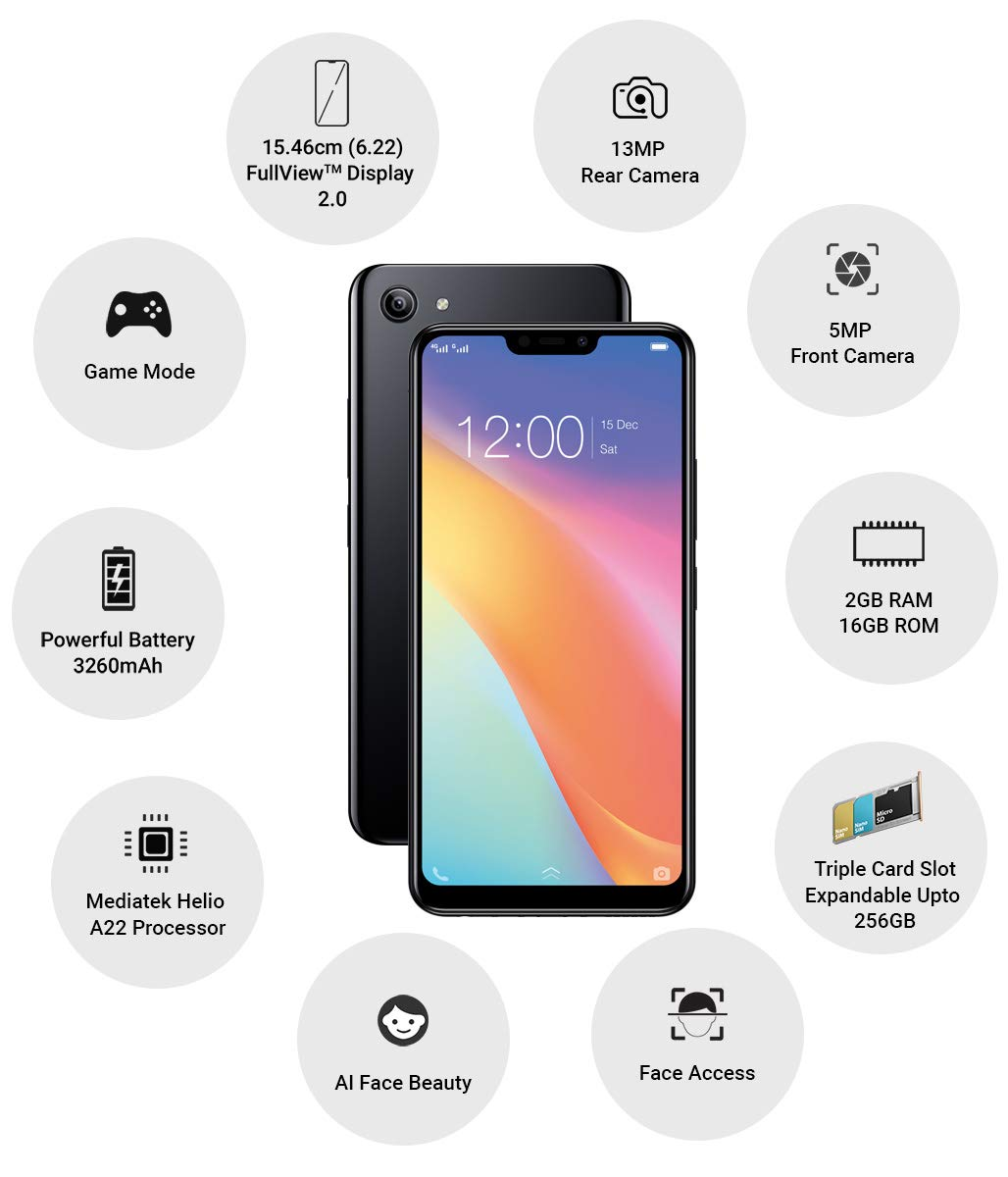 Vivo 1812 Y81i (Black, 2GB RAM, 16GB Storage)