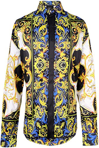 PIZOFF Mens Long Sleeve Luxury Golden Strips Flowers Floral Print Dress Shirt Y1706-28-M