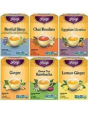 Yogi Tea - Canada Favorites Variety Pack (6 Pack) - Includes Restful Sleep, Green Tea Kombucha, Lemon Ginger, Ginger, Egyptian Licorice, and Chai Rooibos Teas - 96 Tea Bags