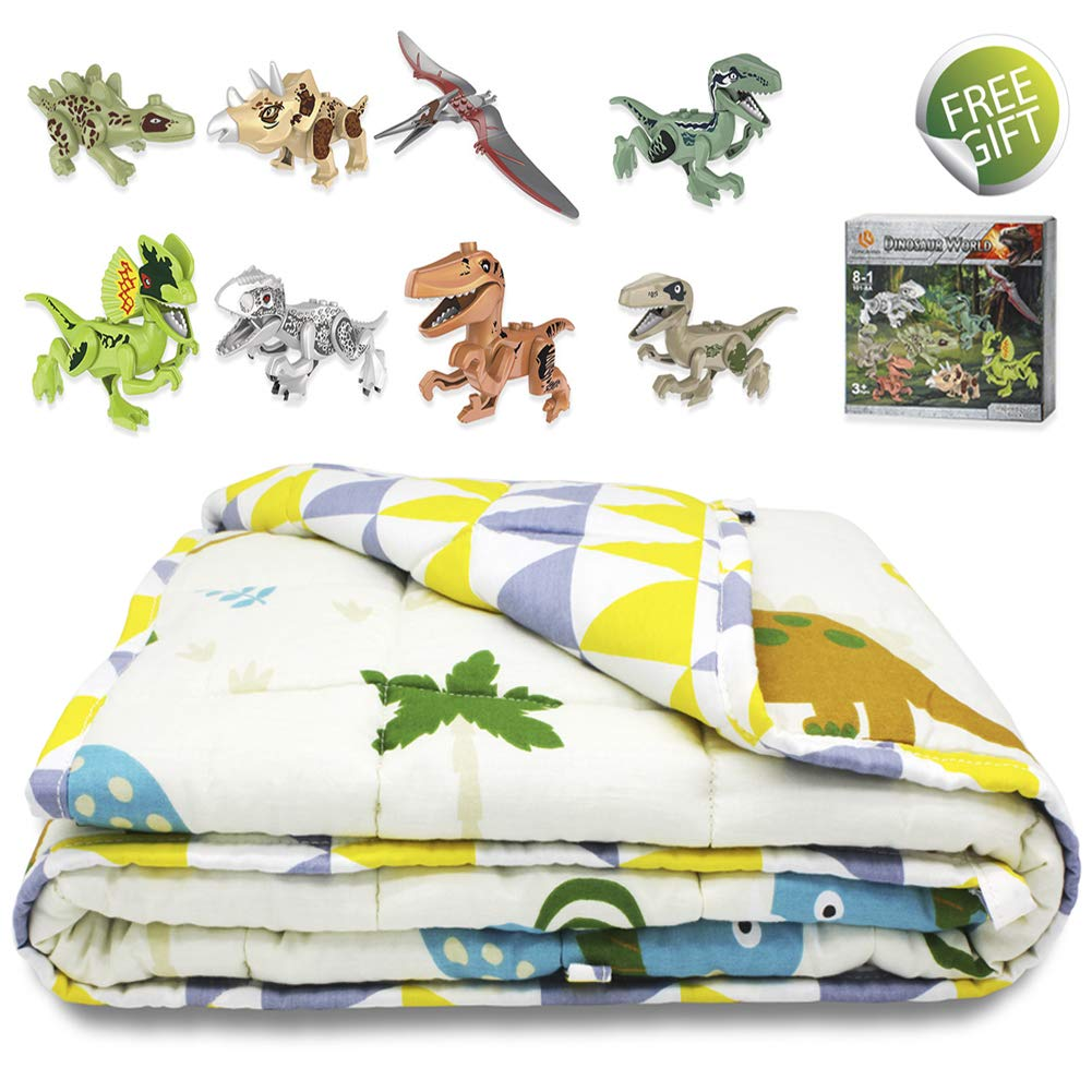 TerriTrophy Kids Weighted Blanket with Dinosaur Blocks,36 x 48inches, 100% Cotton Heavy Weighted Blanket for Kids Gift for Boys Girls Children by TerriTrophy