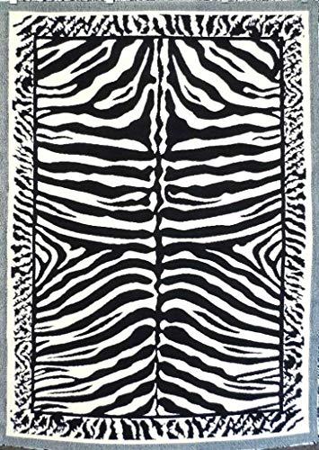 - Kingdom Zebra Animal Print Area Rug Black & Off White Design D142 (3 Feet 10 Inch X 5 Feet 2 Inch)