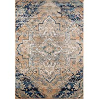 Momeni Rugs AMELIAM-03NVY2030 Amelia Collection Traditional Area Rug, 2 x 3, Navy Blue