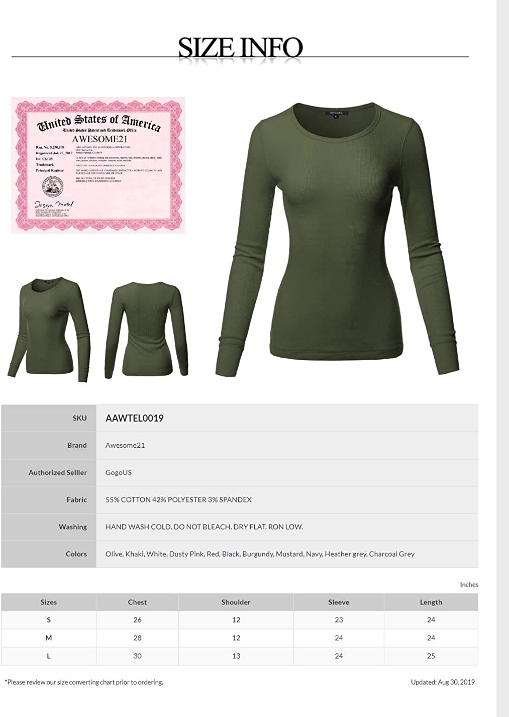 Awesome21 Womens Casual Solid Basic Crew Neck Long Sleeves Thermal Top