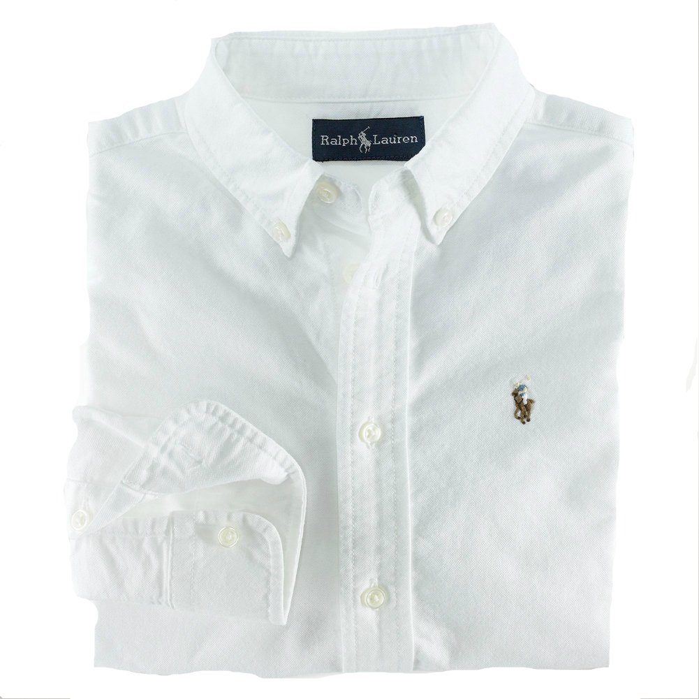 136388b59 Amazon.com: Polo Ralph Lauren Boys Solid Cotton Oxford Shirt (White, 8): Button  Down Shirts: Clothing