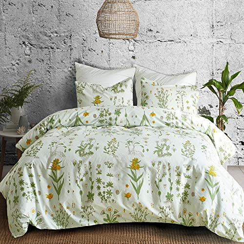 Argstar 2 Pcs Twin Duvet Covers Set, Botanical Bedding Set Covers, Colorful Floral Pattern Cream Comforter Cover, Soft Lightweight Microfiber, for Men Women Boys and Girls