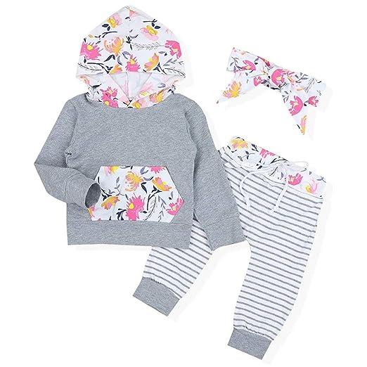021ef6407192 Amazon.com  Sinhoon Baby Girl Floral Outfits Hoodie Kangaroo Pocket ...