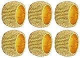 SKAVIJ Handmade Gold Napkin Rings Set of 6 Beaded Holder for Weddings Dinner Parties or Every Day Use