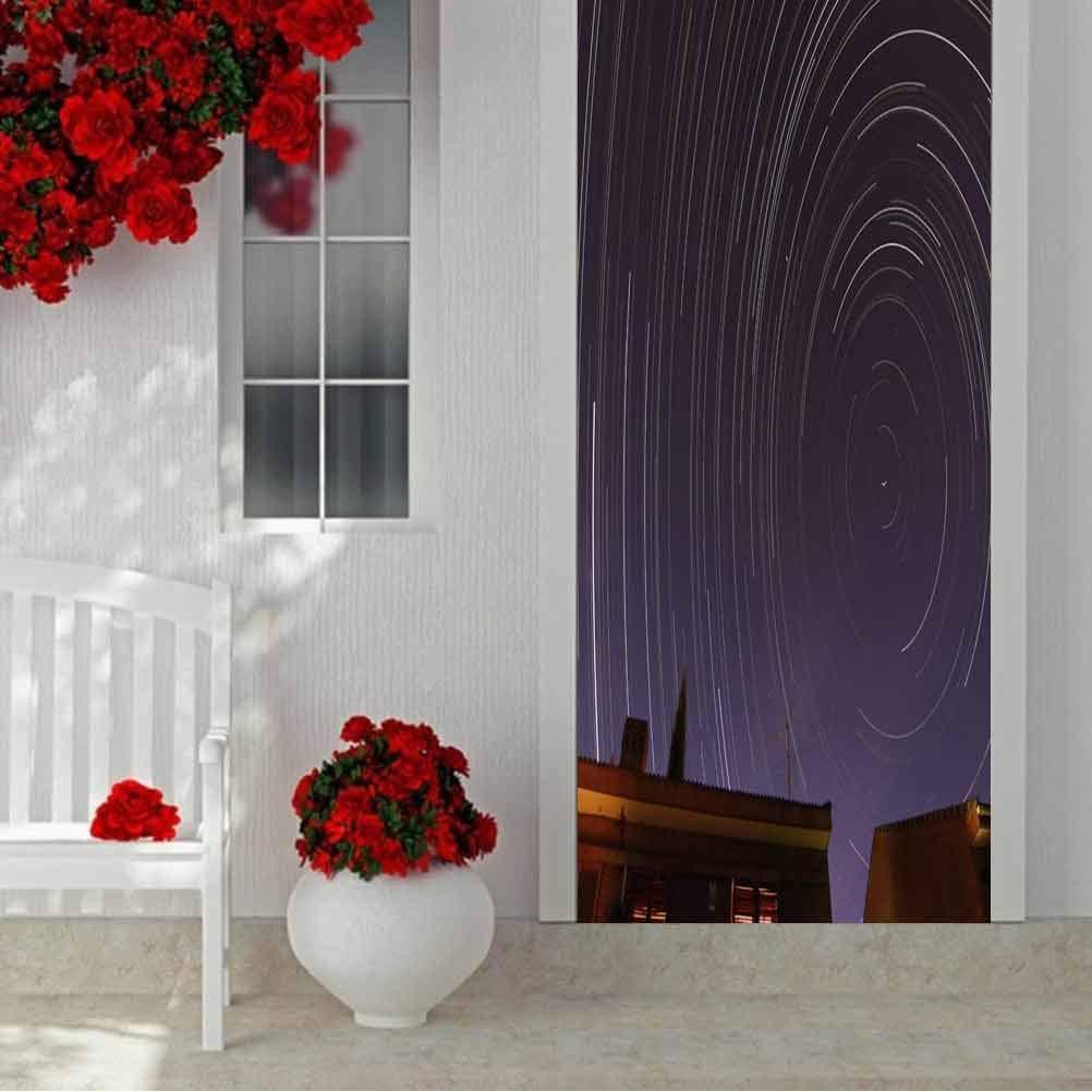3D Modern Kunst Decorative Door Sticker, die Stars Travels Around die North Celestial Pole Making Cir, Removable Vinyl Door Wall Mural Door Stickers für Zuhause Decorative W35.4 X L78.7 Inch