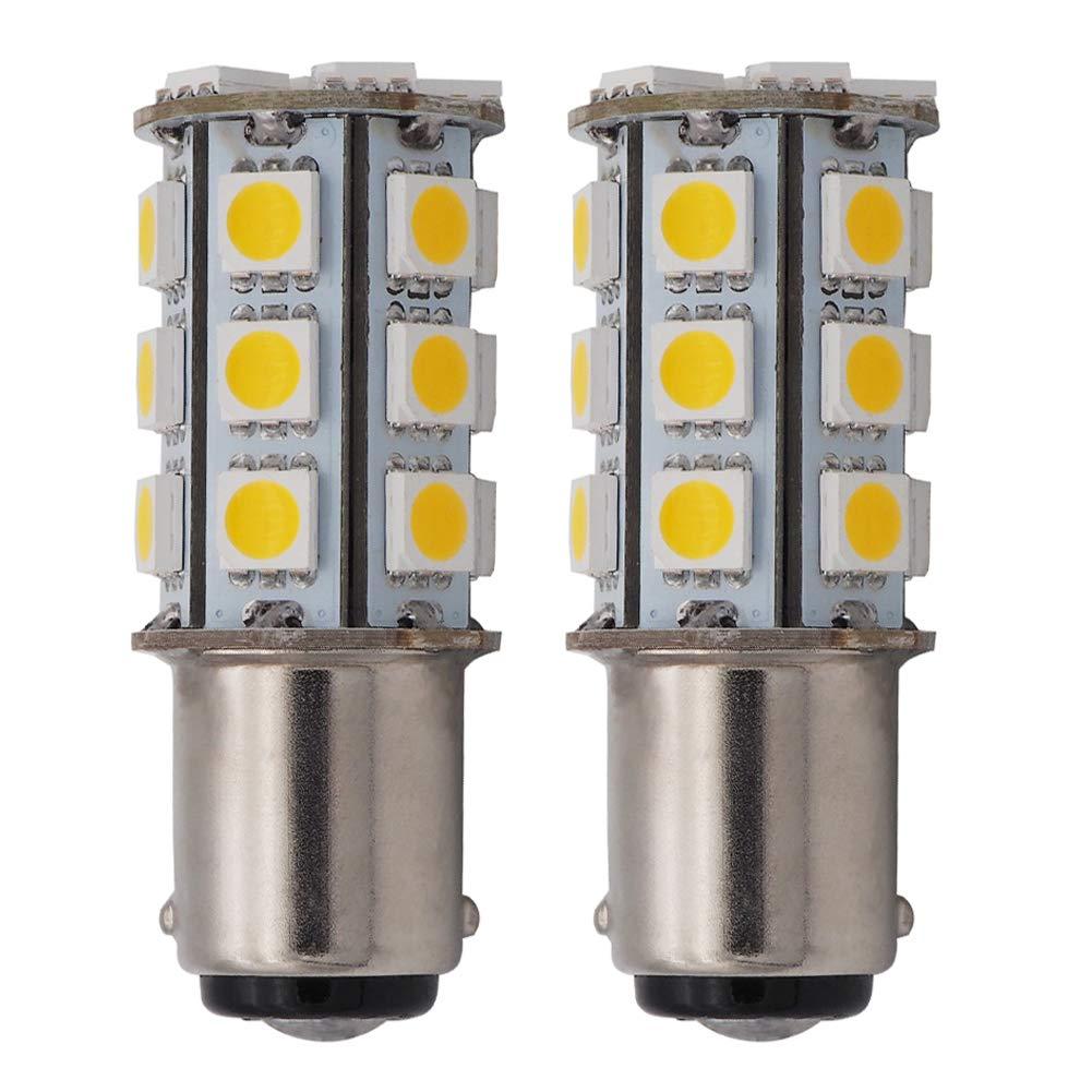 GRV Ba15d 1142 1004 High Bright RV Car LED Bulb 24-5050SMD DC12V Warm White Pack of 2