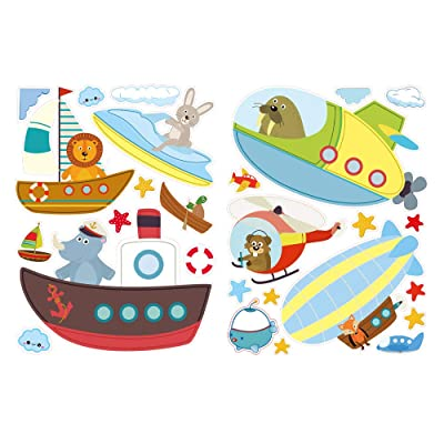 Boats, Planes, Animals & More! Window Decals for Kids, Double-Sided Removable Wall and Window Clings for Toddlers - Balloon, Helicopter - Perfect for Glass, Walls, Planes, Classrooms, Bedrooms: Toys & Games