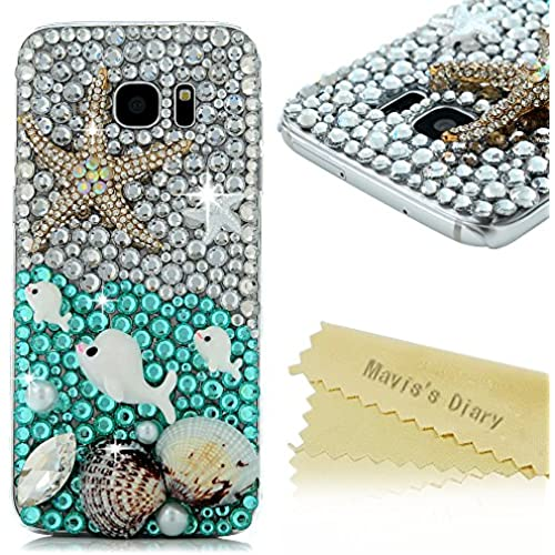 Galaxy S7 Edge Case - Mavis's Diary 3D Handmade Luxury Bling Crystal Cute Dolphin Shiny Starfish Shells with Blue Diamonds Sparkle Gems Glitter Rhinestone Cover Sales