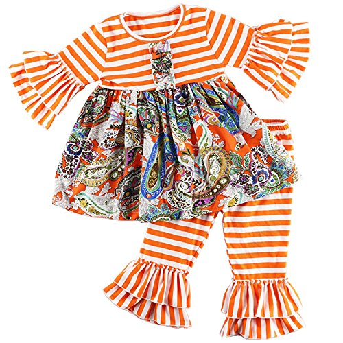Cilucu Girls Clothes Toddler Outfits Kids 2 Pieces Pants Set Striped Shirts with Ruffles Back to School Clothing Orange (Boutique Girls Outfits)
