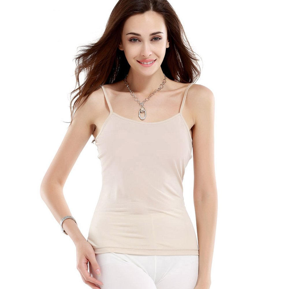Hoffen 100/% Silk Womens Camisoles Basic Camis Tanks with Adjustable Straps Plus Size