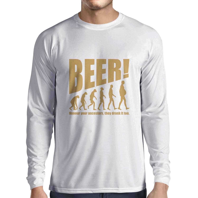 男性用長袖Tシャツ Beervolution - ビール愛好家のためのユニークで面白い皮肉な贈り物のアイデア、飲酒進化 B078YQ3K3T  ホワイトゴールド X-Small