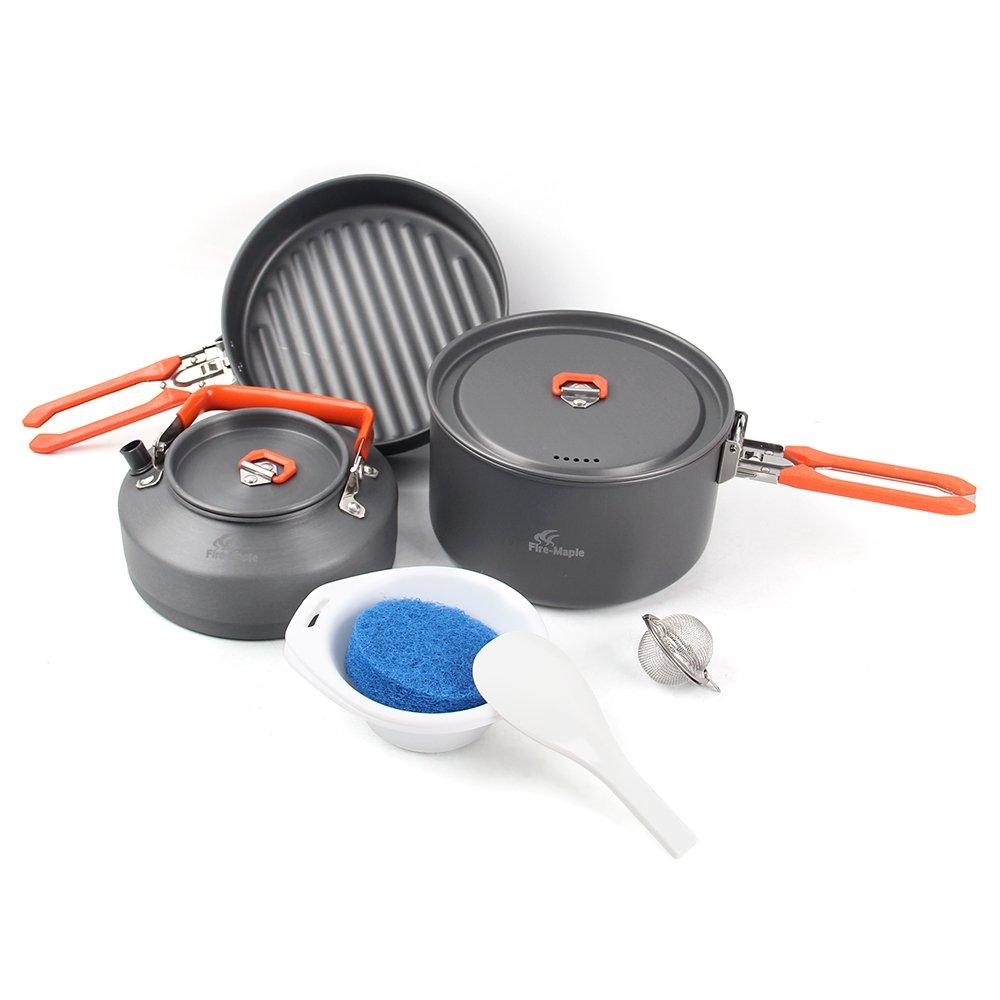 Lixada Camping Al Aire Libre 6pcs Kit de Utensilios de Cocina Senderismo Pinic Cooking Fry Pan Pot Conjunto con Manija Plegable para 1-2 Personas