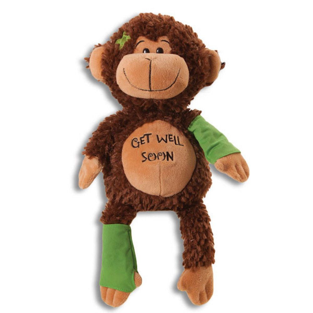 15'' Plush GET WELL SOON MONKEY w/Cast for Autograph - Speedy Recovery GIFT for Hospitalized CHILD Adult - KEEPSAKE - CHIMP Ape