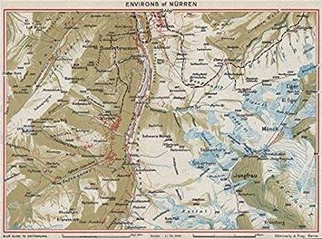 MRREN ENVIRONS Wengen Eiger Jungfrau Lauterbrunnen Vintage map