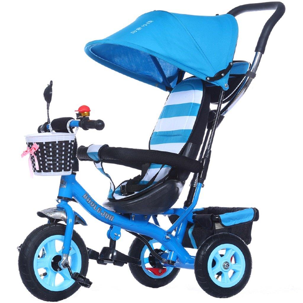 KANGR-子ども用自転車 多機能4-in-1チャイルド三輪車キッドトロリープッシュハンドルステーラー自転車折り畳み式抗UV日よけ| 1-3-6歳の少年少女と赤ちゃんのおもちゃ|ブレーキ付3輪バイク|ブルー ( 色 : C型 cがた ) B07BTZFNRHC型 cがた