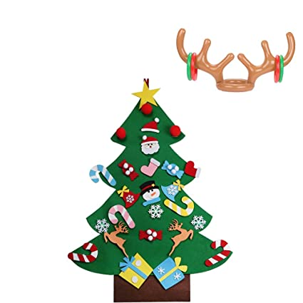 miss fantasy felt christmas tree for kids with 1pc reindeer antler ring toss xmas gift for