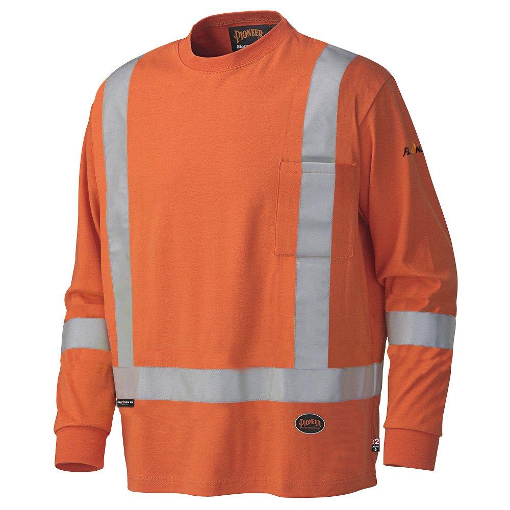 Pioneer V2580450-L Long-Sleeved Cotton Safety Shirt, Flame Resistant Orange, L