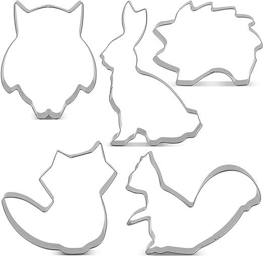 Kaninchen und Pilz Keksausstecher Grizzlyb/är Igel KENIAO Wald Tiere Ausstecher Set Fondant Brot Ausstechformen Eichh/örnchen Eichel Fuchs 7 St/ück Edelstahl
