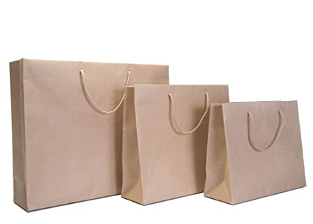 3d2b0f63cced 25 x Luxury Brown Kraft Rope Handle Paper Carrier Bags (Accessory ...