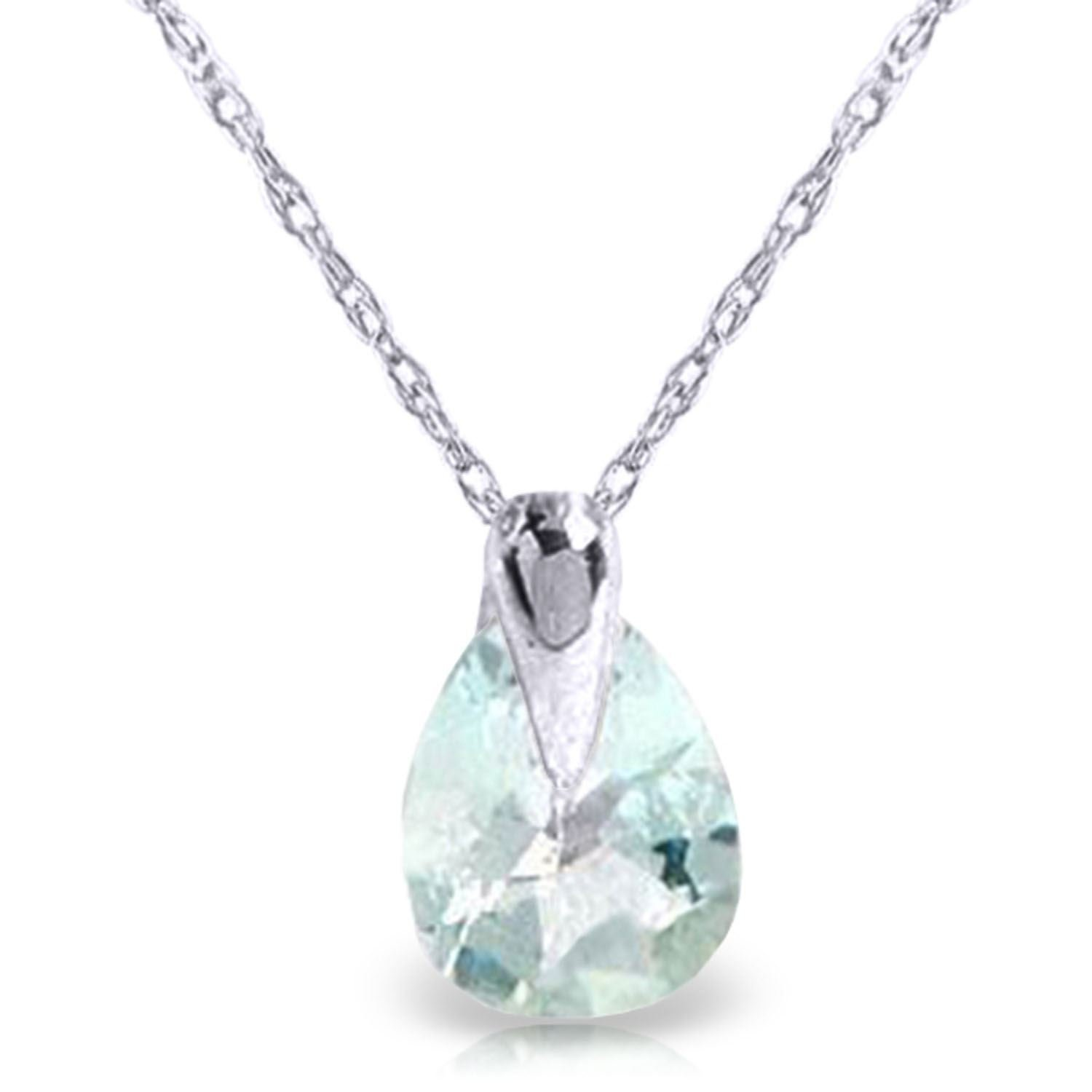 ALARRI 0.68 CTW 14K Solid White Gold Necklace Natural Aquamarine with 22 Inch Chain Length