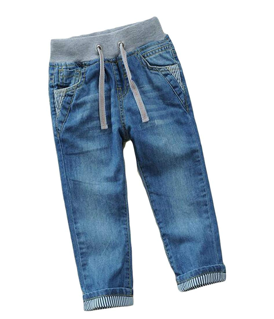 Hajotrawa Boys Casual Slim Denim Drawstring Jeans Trousers Cute Pants
