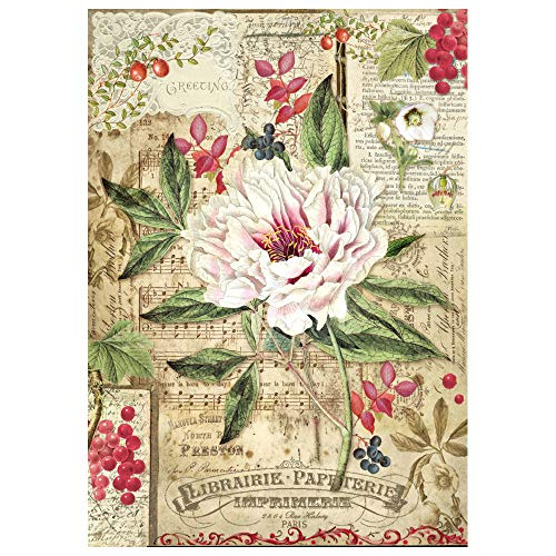 - STAMPERIA DFSA4264 A4 Decoupage Rice Paper Wrapped Peony with Red Berries, Multi-Colour, 29.7 x 21 cm