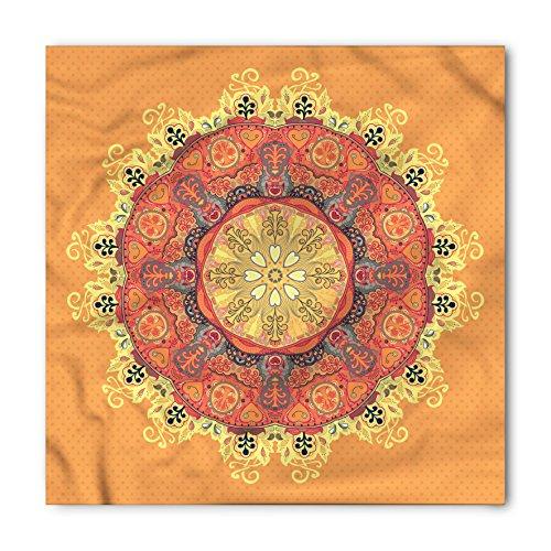 Lunarable Unisex Bandana, Mandala Kaleidoscope Vintage Motifs, Orange Yellow ()