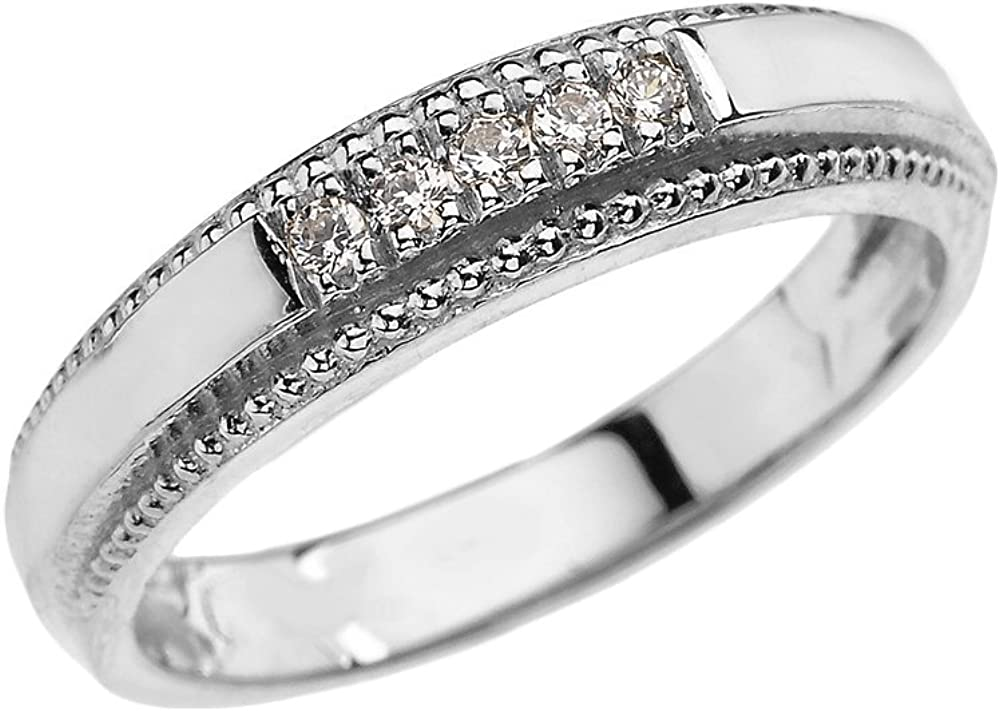 10k White Gold Diamond Wedding Band Ring For Men