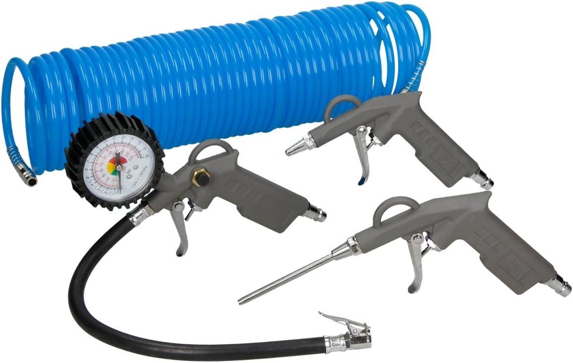 ECD Germany Accesorios para compresor 4 piezas con Inflador de Neumáticos Manguera en espiral de 15m y 2 Pistolas para aire comprimido