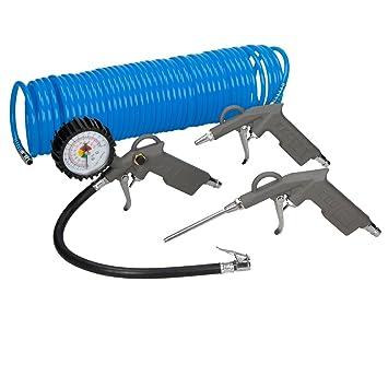 ECD Germany Accesorios para compresor 4 piezas con Inflador de Neumáticos Manguera en espiral de 15m y 2 Pistolas para aire comprimido: Amazon.es: Bricolaje ...