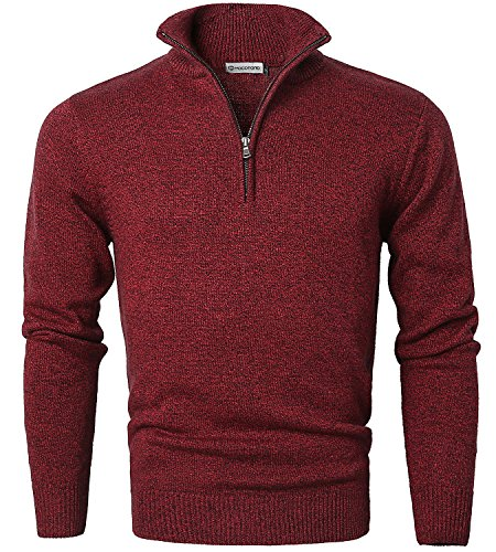 Mens Long Sleeve Turtle Neck Zip Pullover Sweater Red Large