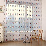 Everpert Toddler Kids Car Pattern Voile Panel Sheer Door Room Drape Window Curtains