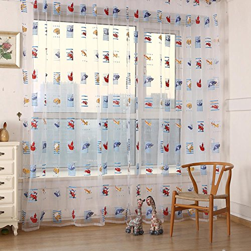 ttnight Toddler Kids Car Pattern Voile Panel Sheer Door Room Drape Window Curtains